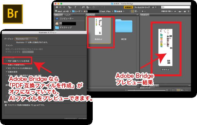 Adobe Bridgeなら「PDF互換ファイルを作成」がオフになっていても、AIファイルをプレビューできます。